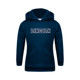 Youth Navy Fleece Hoodie-Lincoln