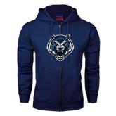 Navy Fleece Full Zip Hoodie-Tiger Head