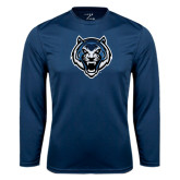 Syntrel Performance Navy Longsleeve Shirt-Tiger Head