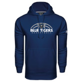 Under Armour Navy Performance Sweats Team Hoodie-Blue Tigers Basketball Half Ball