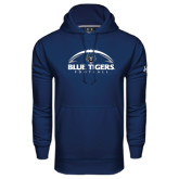Under Armour Navy Performance Sweats Team Hoodie-Blue Tigers Football Half Ball