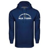 Under Armour Navy Performance Sweats Team Hoodie-Blue Tigers Football Half Ball