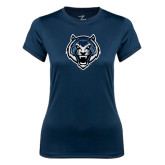 Ladies Syntrel Performance Navy Tee-Tiger Head