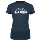 Ladies Syntrel Performance Navy Tee-Blue Tigers Basketball Half Ball