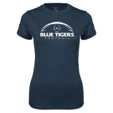 Ladies Syntrel Performance Navy Tee-Blue Tigers Football Half Ball