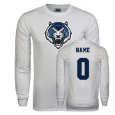 White Long Sleeve T Shirt-Tiger Head, Custom Tee w/ Name and #