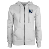 ENZA Ladies White Fleece Full Zip Hoodie-Interlocking LU