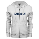 ENZA Ladies White Fleece Full Zip Hoodie-Lincoln