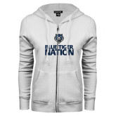 ENZA Ladies White Fleece Full Zip Hoodie-Blue Tiger Nation