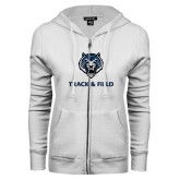 ENZA Ladies White Fleece Full Zip Hoodie-Track & Field