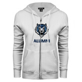 ENZA Ladies White Fleece Full Zip Hoodie-Alumni