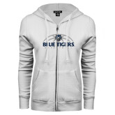 ENZA Ladies White Fleece Full Zip Hoodie-Blue Tigers Basketball Half Ball