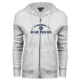 ENZA Ladies White Fleece Full Zip Hoodie-Blue Tigers Football Half Ball
