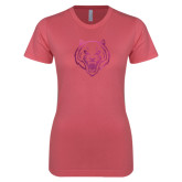 Next Level Ladies SoftStyle Junior Fitted Pink Tee-Tiger Head Foil