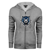 ENZA Ladies Grey Fleece Full Zip Hoodie-Tiger Head