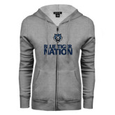 ENZA Ladies Grey Fleece Full Zip Hoodie-Blue Tiger Nation