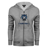 ENZA Ladies Grey Fleece Full Zip Hoodie-Basketball