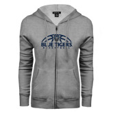 ENZA Ladies Grey Fleece Full Zip Hoodie-Blue Tigers Basketball Half Ball