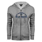 ENZA Ladies Grey Fleece Full Zip Hoodie-Blue Tigers Football Half Ball