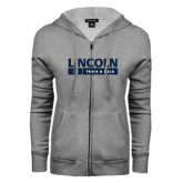 ENZA Ladies Grey Fleece Full Zip Hoodie-Lincoln Track & Field Bar