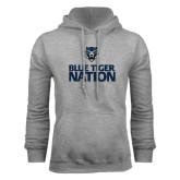 Grey Fleece Hoodie-Blue Tiger Nation