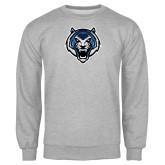 Grey Fleece Crew-Tiger Head