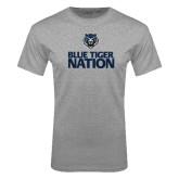 Grey T Shirt-Blue Tiger Nation