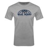 Grey T Shirt-Blue Tigers Basketball Half Ball