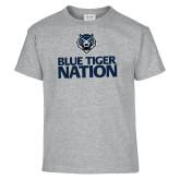 Youth Grey T-Shirt-Blue Tiger Nation