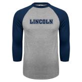 Grey/Navy Raglan Baseball T Shirt-Lincoln