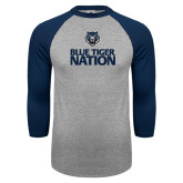 Grey/Navy Raglan Baseball T Shirt-Blue Tiger Nation