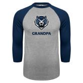 Grey/Navy Raglan Baseball T Shirt-Grandpa