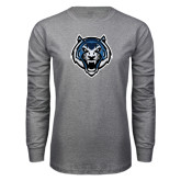 Grey Long Sleeve T Shirt-Tiger Head