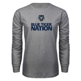 Grey Long Sleeve T Shirt-Blue Tiger Nation