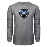 Grey Long Sleeve T Shirt-Tiger Head Distressed