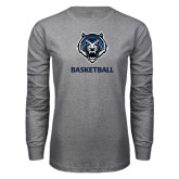 Grey Long Sleeve T Shirt-Basketball