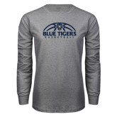 Grey Long Sleeve T Shirt-Blue Tigers Basketball Half Ball
