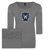 Ladies Grey Heather Tri Blend Lace 3/4 Sleeve Tee-Tiger Head