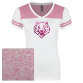 Ladies White/Bright Pink Juniors Varsity V Neck Tee-Tiger Head Foil