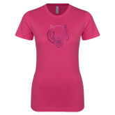 Ladies SoftStyle Junior Fitted Fuchsia Tee-Tiger Head Foil