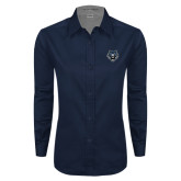 Ladies Navy Twill Button Down Long Sleeve-Tiger Head