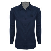 Ladies Navy Twill Button Down Long Sleeve-Interlocking LU Tone