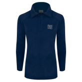 Columbia Ladies Half Zip Navy Fleece Jacket-Interlocking LU