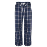 Navy/White Flannel Pajama Pant-Tiger Head