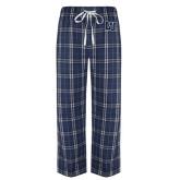 Navy/White Flannel Pajama Pant-Interlocking LU