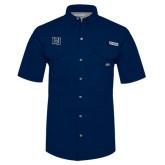 Columbia Bonehead Navy Short Sleeve Shirt-Interlocking LU