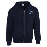 Navy Fleece Full Zip Hoodie-Interlocking LU