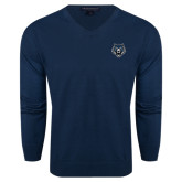 Classic Mens V Neck Navy Sweater-Tiger Head