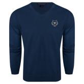 Classic Mens V Neck Navy Sweater-Tiger Head