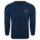 Classic Mens V Neck Navy Sweater-Interlocking LU